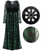 CLEARANCE! Plus Size Black & Green Lace Floral Print Empire Waist Dress With Rhinestone Detail 5x