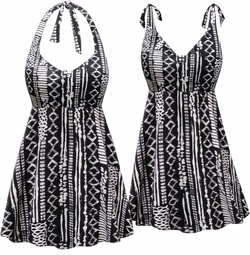 CLEARANCE! Plus Size Black & White Abstract Print Halter Swimsuit/SwimDress 2xT 8x