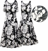 CLEARANCE! Plus Size Black & White Graphic Floral Print Princess Cut Poly/Cotton Jersey Dress 6x