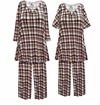 SOLD OUT!  Plus Size Black White & Pink Plaid Print 2 Piece Pajama Pant Set 2x