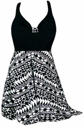 SOLD OUT! Plus Size Black & White Tribal Print Halter Swimsuit/SwimDress