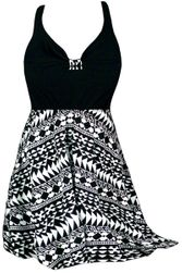 CLEARANCE! Plus Size Black & White Tribal Print Halter Swimsuit/SwimDress 1x