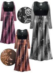 CLEARANCE! Plus Size Black With Glittery Paisley Sheer Print Empire Waist Dress With Rhinestone Detail 6x