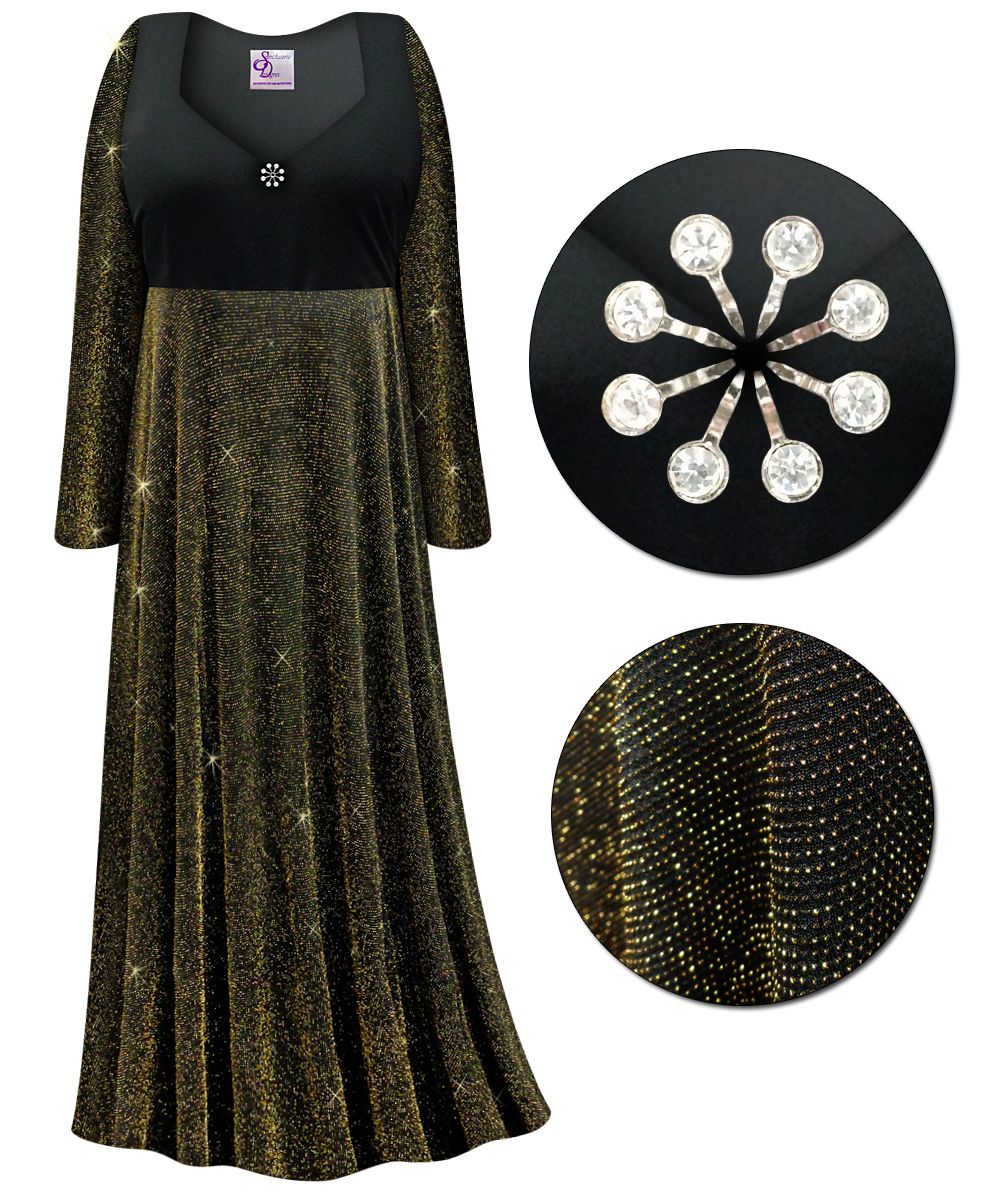 CLEARANCE! Plus Size Black With Gold Glimmer Empire Waist ...