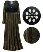CLEARANCE! Plus Size Black With Gold Glimmer Empire Waist Dress With Rhinestone Detail 0x
