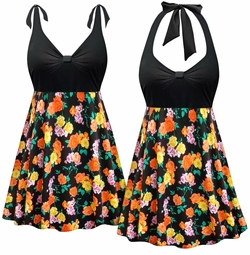 SOLD OUT! Plus Size Black with Orange & Yellow Roses Halter or Shoulder Strap 2pc Swimsuit/SwimDress 0x