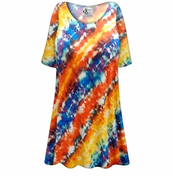 FINAL CLEARANCE SALE! Plus Size Blue and Orange Abstract Slinky Print Tops 4x