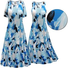 SOLD OUT! Plus Size Blue Flower Splash Slinky Print Short or Long Sleeve Dresses & Tanks