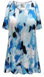CLEARANCE! Plus Size Blue Flower Splash Slinky Print Short or Long Sleeve Shirts - Tunics - Tank Tops 0x