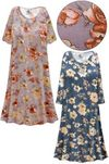 CLEARANCE! Plus Size Blue or Mauve Floral Print Sleep Gown - Muumuu - Moo Moo Dress 4x