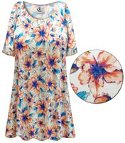 SOLD OUT! Plus Size Blue & Orange Floral Slinky Print Short or Long Sleeve Shirts