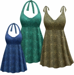 CLEARANCE! Plus Size Blue or Green Animal Print Halter or Shoulder Strap 2pc Swimsuit/SwimDress 6x