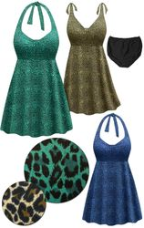 SOLD OUT! CLEARANCE! Plus Size Brown, Blue or Green Animal Print Halter or Shoulder Strap 2pc Swimsuit/SwimDress 4x