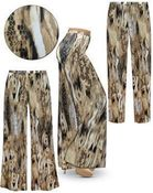 SOLD OUT! Plus Size Brown Snake SLINKY Print Palazzo Pants - Tapered Pants 3x