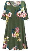 CLEARANCE! Plus Size Brushed Olive Floral Print Extra Long Rayon/Cotton T-Shirts 4x