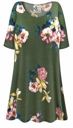 SOLD OUT! Plus Size Brushed Olive Floral Print Extra Long Rayon/Cotton T-Shirts 4x