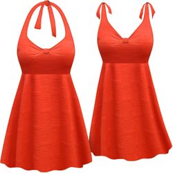 CLEARANCE!  Plus Size Burnt Coral Stamped Print Halter or Shoulder Strap 2pc Swimsuit/SwimDress 1x