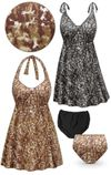 SOLD OUT! CLEARANCE! Plus Size Camouflage Print Halter or Shoulder Strap 2pc Swimsuit/SwimDress 0x