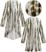 CLEARANCE! Plus Size Cream with Brown Ink Lines Slinky Print Jackets & Dusters - Sizes