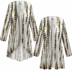 CLEARANCE! Plus Size Cream with Brown Ink Lines Slinky Print Jackets 1x
