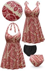 CLEARANCE!  Plus Size Crimson & Tan Floral Print Halter or Shoulder Strap 2pc Swimsuit/SwimDress 4x 5x