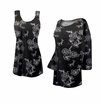 FINAL CLEARANCE SALE! Plus Size Customizable Black w/ Silver Daisies Glitter Slinky Print Tops 2x 3x