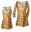 FINAL CLEARANCE SALE! Plus Size Customizable Orange, Brown, and Yellow Autumn Leaves Metallic Slinky Print Tops 1x 2x 3x