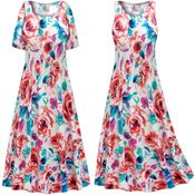 CLEARANCE! Plus Size Floral Slinky Print Short or Long Sleeve Dresses & Tanks XL