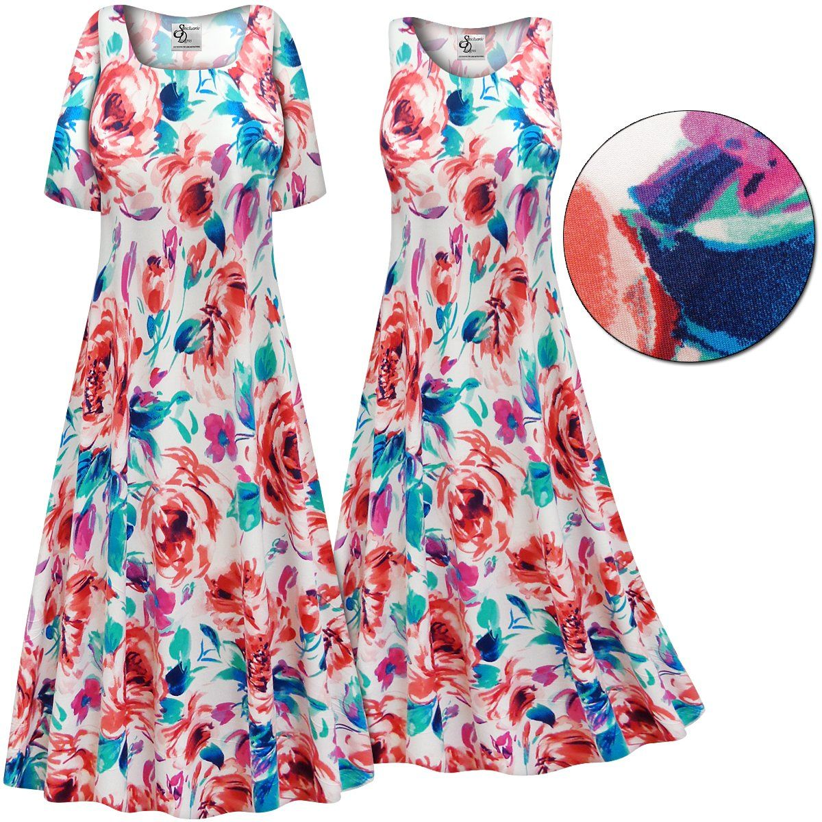 CLEARANCE! Plus Size Floral Slinky Print Short or Long ...