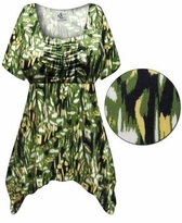 CLEARANCE! Plus Size Forest Slinky Print Babydoll Top 6x