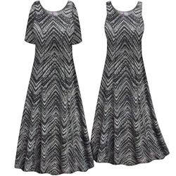 CLEARANCE! Plus Size Gray Chevron Print Princess Cut Poly/Cotton Jersey Dress 4x