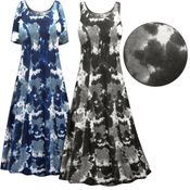 SOLD OUT! CLEARANCE! Plus Size Gray Marble Print Princess Cut Poly/Cotton Jersey Dress 6x