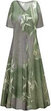 CLEARANCE! Plus Size Green or Brown Lilies Slinky Print Tank Short or Long Sleeve Dresses & Tanks - Sizes 2x 3x