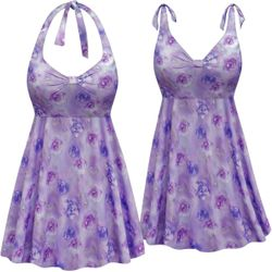 CLEARANCE!  Plus Size Lavender Floral Print Halter or Shoulder Strap 2pc Swimsuit/SwimDress 3x