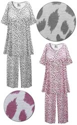 CLEARANCE! Plus Size Light Weight Maroon or Gray Animal Print 2 Piece Pajama Pant Set 9x