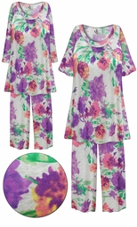 SOLD OUT!  Plus Size LIGHT WEIGHT Pretty in Purple Floral Print 2 Piece Pajama Pant Set 8x