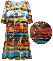 SOLD OUT! CLEARANCE! Plus Size Metallic Abstract Lines Slinky Print Short or Long Sleeve Shirts - Tunics - Tank Tops 8x