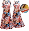 CLEARANCE! Plus Size Metallic Floral Abstract Slinky Print Short or Long Sleeve Dresses & Tanks - Sizes 1x