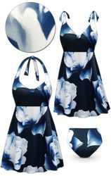 CLEARANCE! Plus Size Navy Gardenia Print Halter or Shoulder Strap 2pc Swimsuit/SwimDress 3x