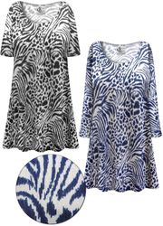 CLEARANCE! Plus Size Navy or Black Animal Print <strong>KNIT</strong> Short or Long Sleeve Shirts - Tunics - Tank Tops - Sizes 1x 2x