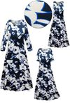 CLEARANCE! Plus Size Navy & White Floral Slinky Print Short or Long Sleeve Dresses & Tanks 0X