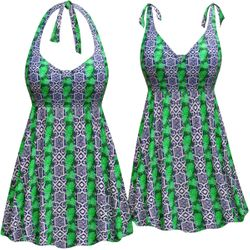 CLEARANCE! Plus Size Navy with Green Leaves Print Halter or Shoulder Strap 2pc Swimsuit/SwimDress Size 6x