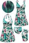 SOLD OUT! Plus Size Paradise Oasis Print Halter or Shoulder Strap 2pc Swimsuit/SwimDress