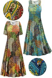 SOLD OUT! Plus Size Perfectly Peacock Slinky Print Short or Long Sleeve Dresses & Tanks