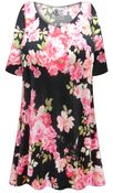 CLEARANCE! Plus Size Pink Roses Print Extra Long Poly/Cotton T-Shirts Size 1x