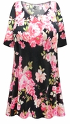 SOLD OUT! Plus Size Pink Roses Print Extra Long Poly/Cotton T-Shirts Size 1x