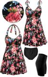 CLEARANCE! Plus Size Pink Roses Print Halter or Shoulder Strap 2pc Swimsuit/SwimDress 4x