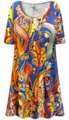 CLEARANCE! Plus Size Power Paisley Print Extra Long Poly/Cotton T-Shirts XL