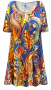 CLEARANCE! Plus Size Power Paisley Print Extra Long Poly/Cotton T-Shirts XL 4x