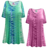 CLEARANCE! Plus Size Purple or Green Zebra Slinky Print Short or Long Sleeve Shirts - Tunics - Tank Tops Sizes - 4x
